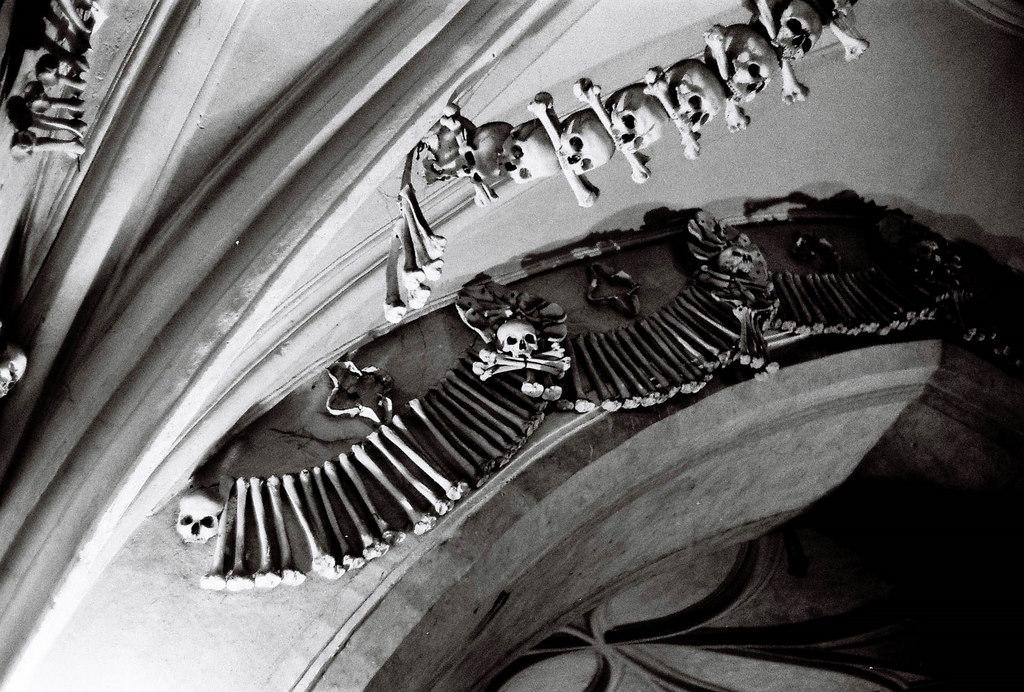 """""""bone church"""" ceiling sculpture - Sedlec Ossuary, Czech Republic"""