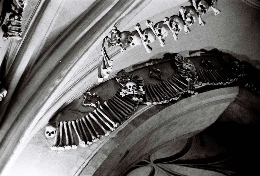 """bone church"" ceiling sculpture - Sedlec Ossuary, Czech Republic"