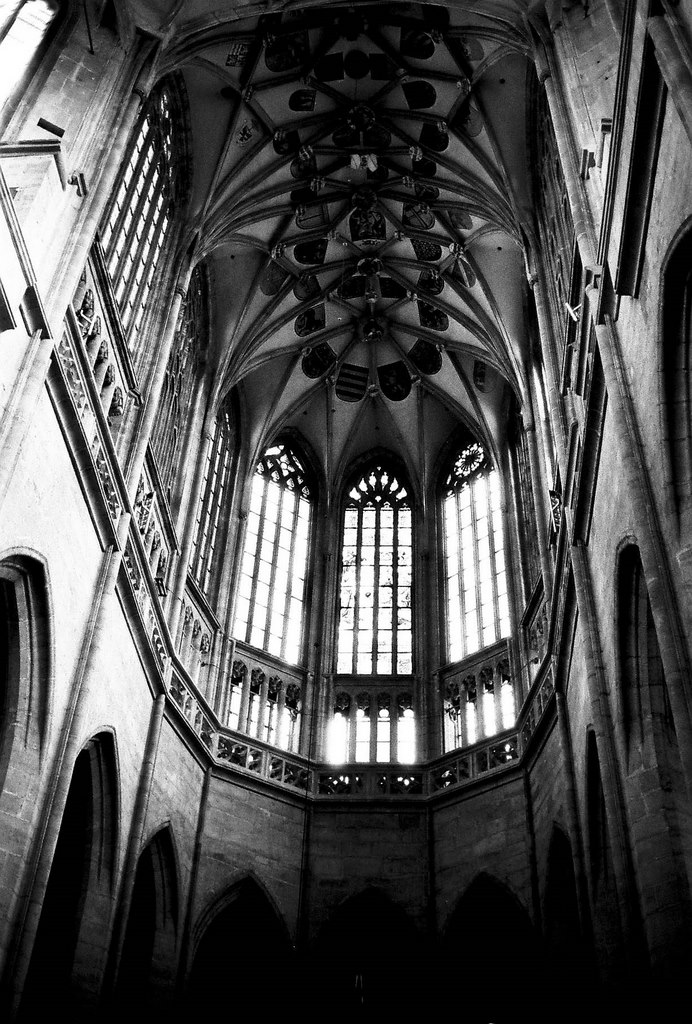 cathedral ceiling and windows, Kutna Hora, Czech Republic