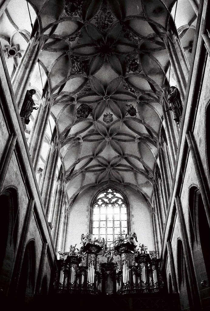 inside Saint Barbara cathedral, kutna hora - ceiling detail