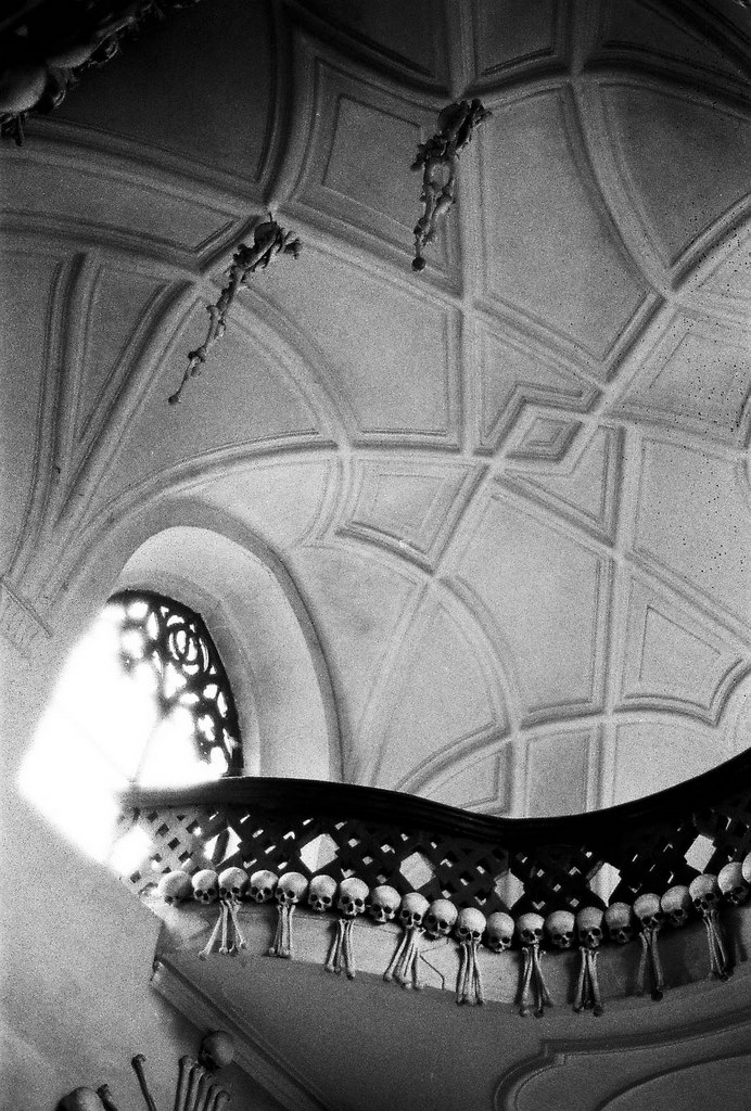 ceiling detail, Sedlec Ossuary, bone church, Kutna Hora, Czech Republic