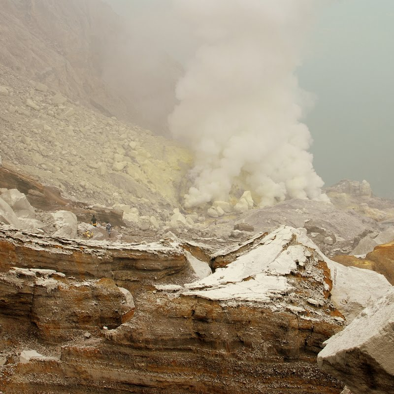 distant view through sulphur smoke, Mount Ijen, Indonesia