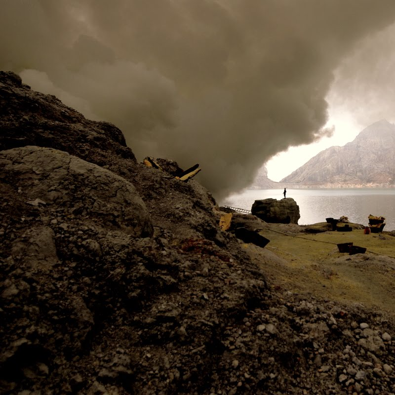 Ijen volcano crater lake