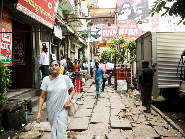 myanmar burma yangon rangoon footpath sidewalk