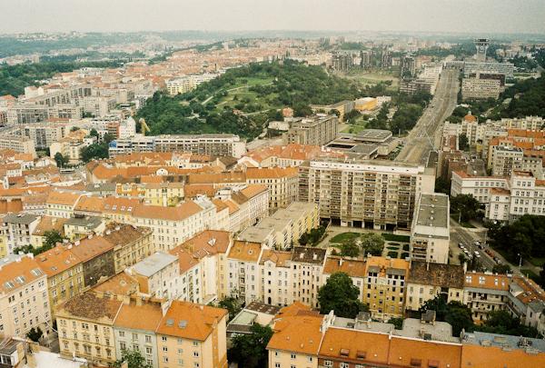 views of prague from zizkov tower