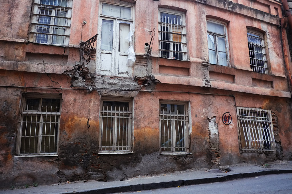 Crumbling facade, typical of Old Tbilisi.