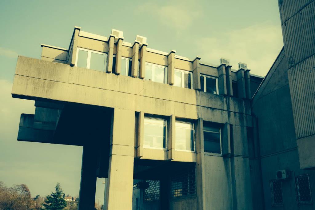 communist brutalist university Skopje architecture