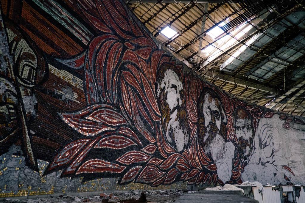 Mosaics of Buzludzha, Bulgaria.