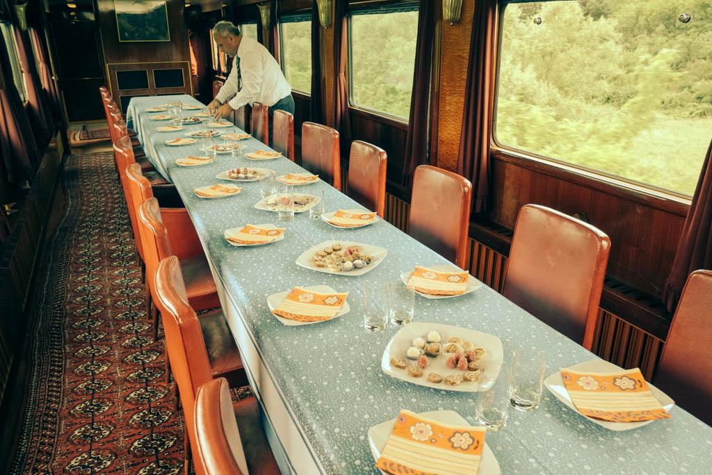 Tito's train dining area