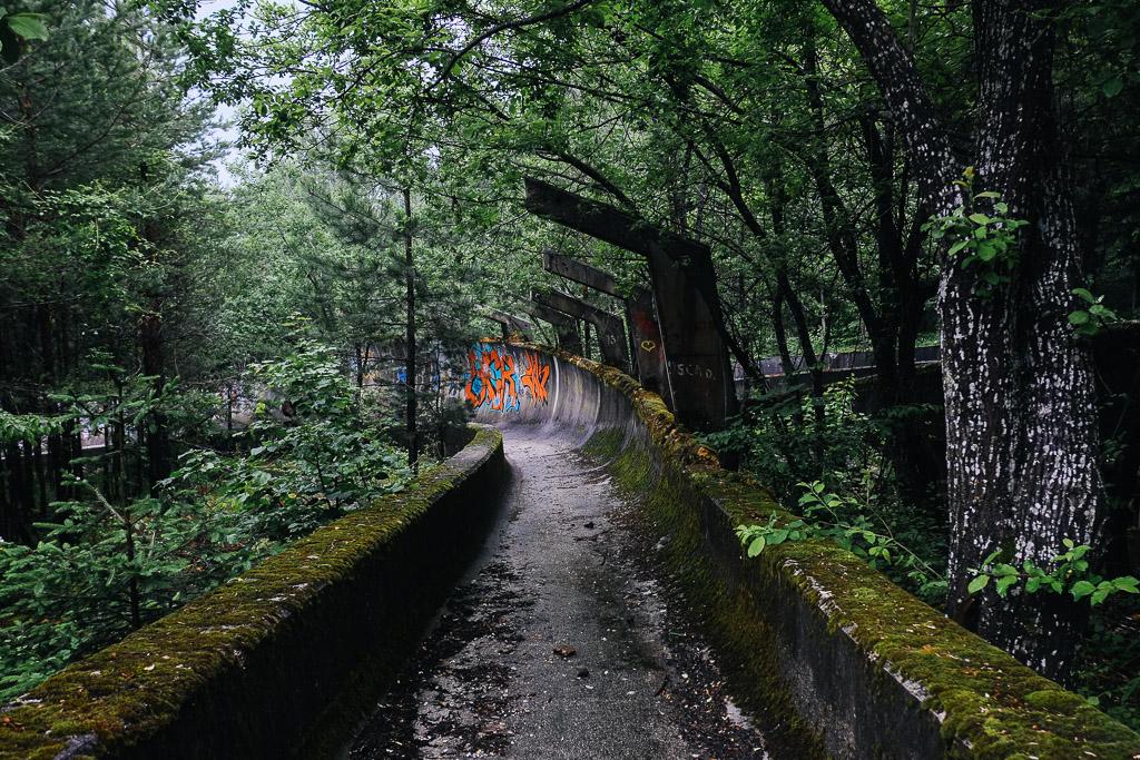 bobsled track from sarajevo winter olympics