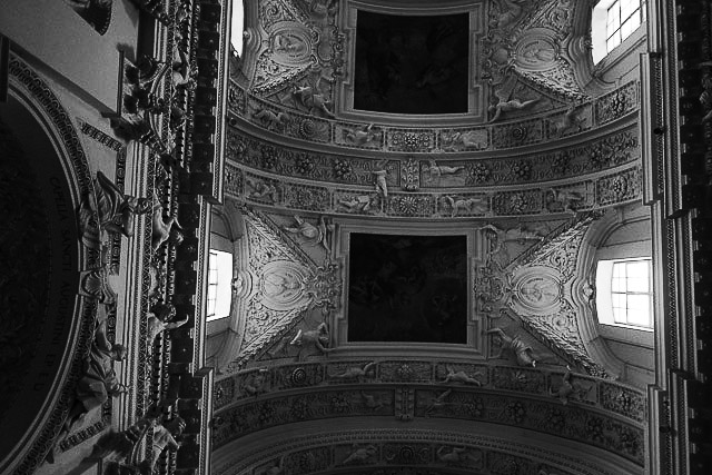 Looking up at the ceiling. Pietro Perti was the master sculptor of this Lithuanian Baroque masterpiece.