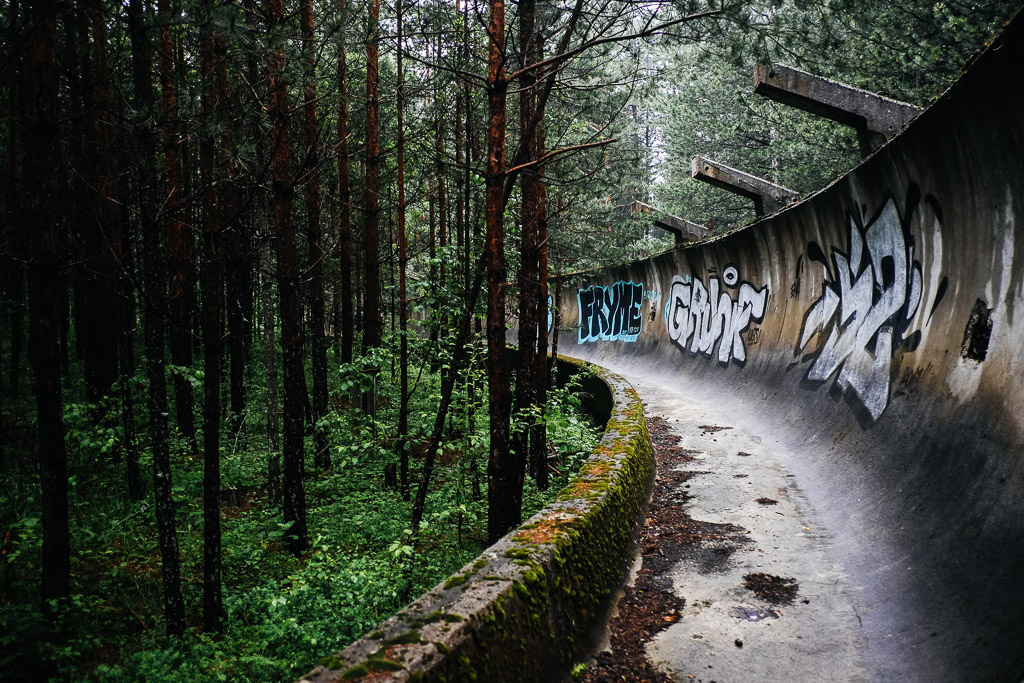 abandoned bobsled track Bosnia