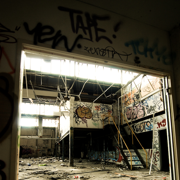 abandoned buildings with graffiti
