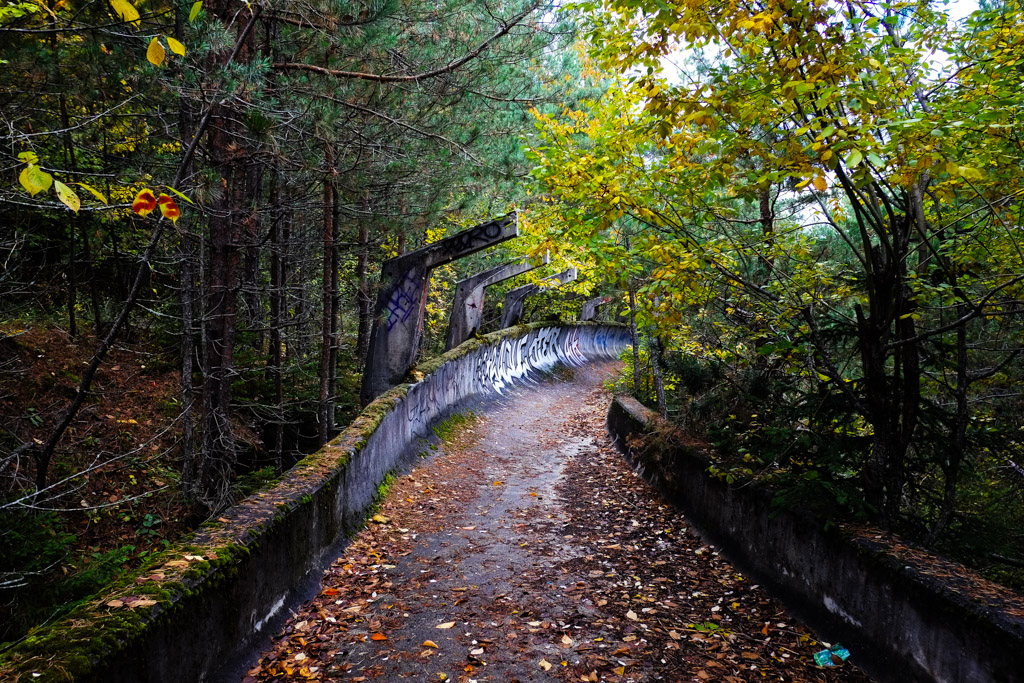 Abandoned winter Olympic bob-sleigh track