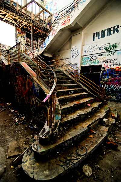 abandoned power station building staircase