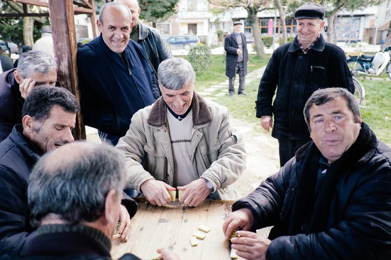 men playing dominoes in Albania