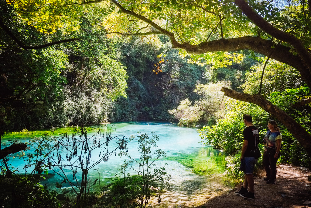 """Just inland from the beach, this is the """"Blue Eye"""" a natural spring lake. Albania."""