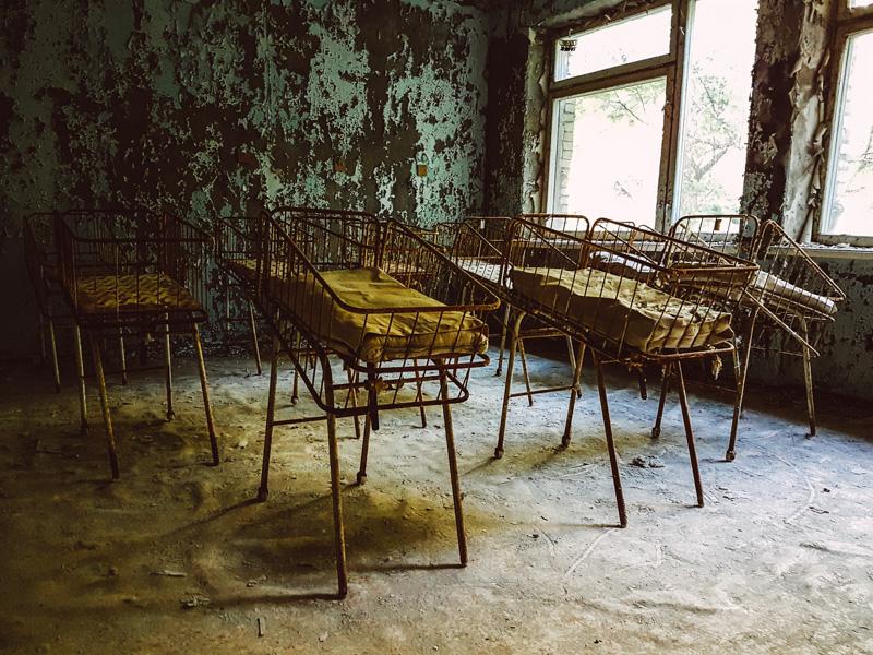 Pripyat Hospital, near Chernobyl. Haunting.