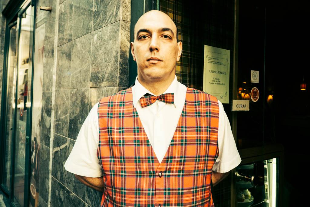 A waiter in Belgrade, Serbia.
