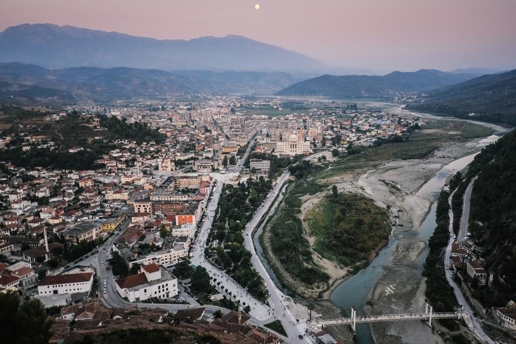 berat sunset albania castle