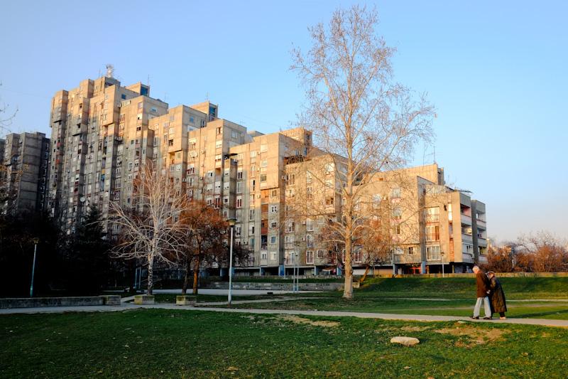 Blok 62. Communist architecture of Novi Beograd, Serbia.