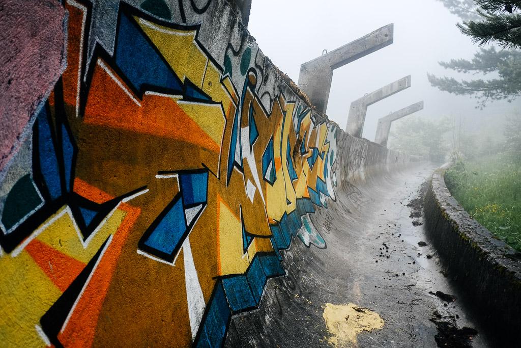 Foggy day on Mount Trebevic, Sarajevo.