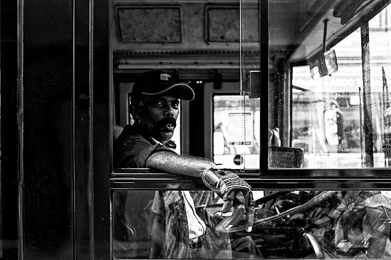 Smoking bus driver, Kuala Lumpur Malaysia