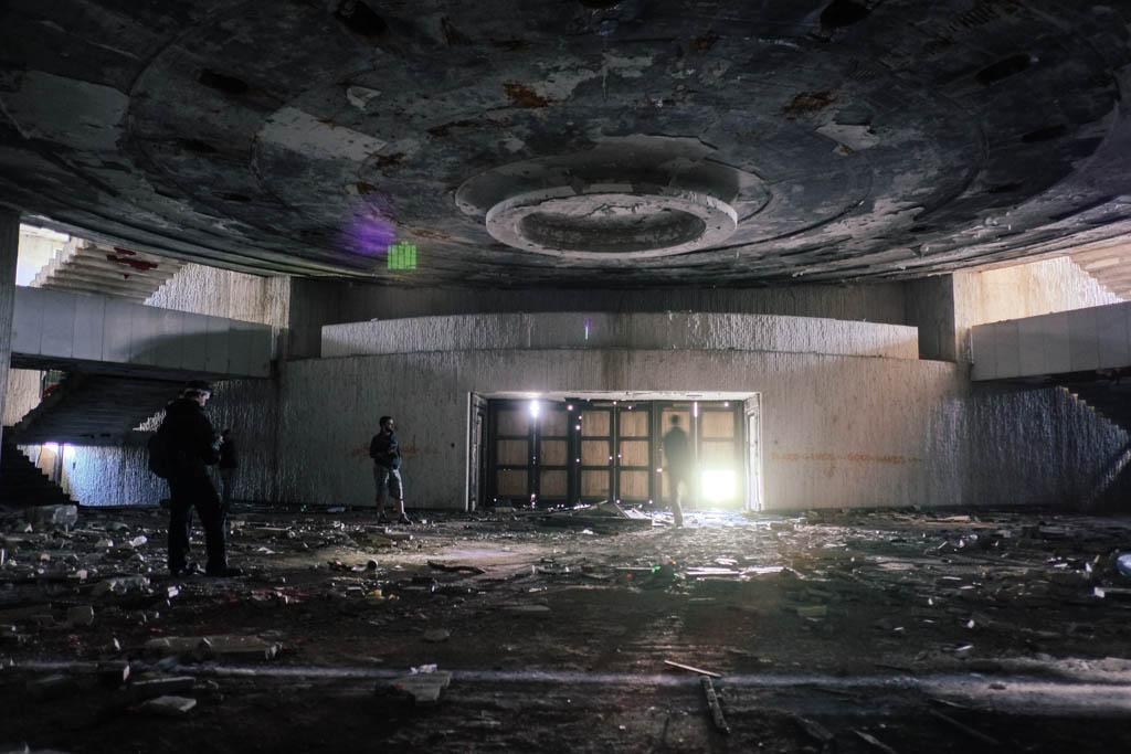Underneath the main meeting hall at Buzludzha.