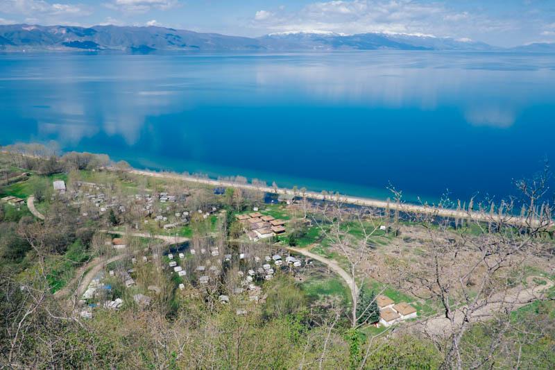 Sinking caravan park Pogradec, Albania.