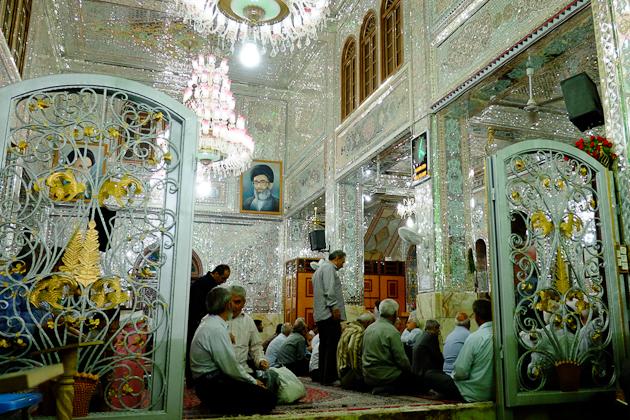 Worshippers inside Cheragh Shah - Shia Muslim holy site in Shiraz, Iran
