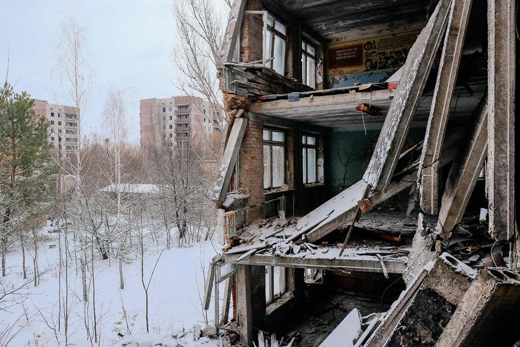 collapsing buildings pripyat chernobyl