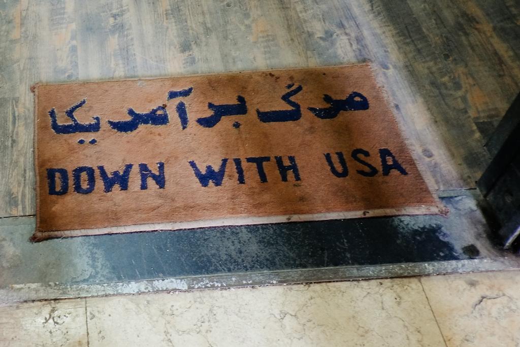 down with usa tehran iran embassy doormat