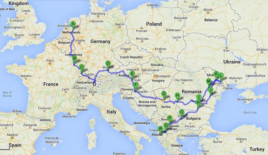 European Road Trip... so far. 17 countries, about a month.