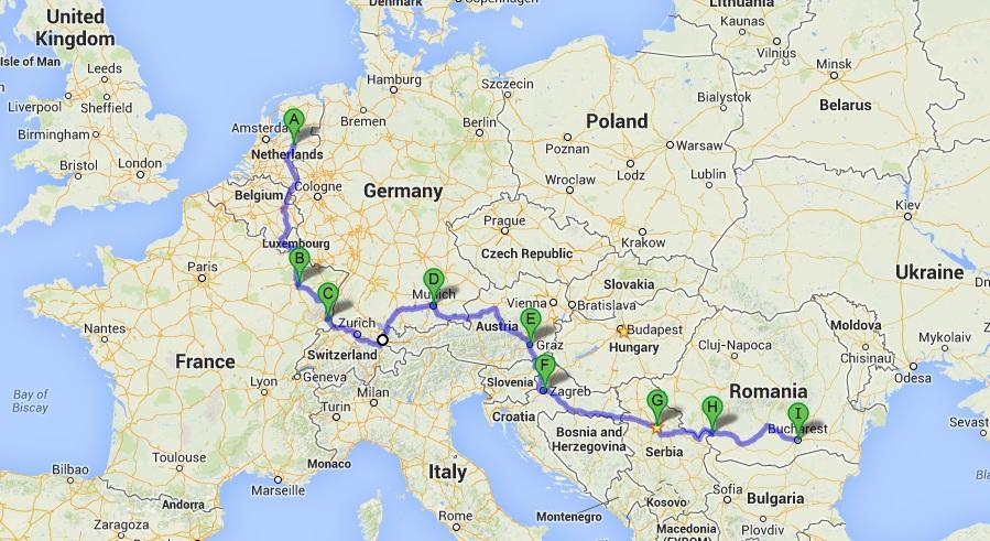 european road trip route map