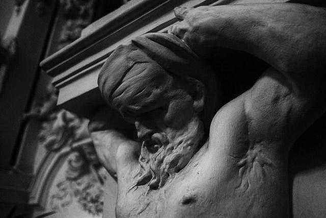 Sculpture facial detail - St Peter and St Paul's Church. Vilnius.