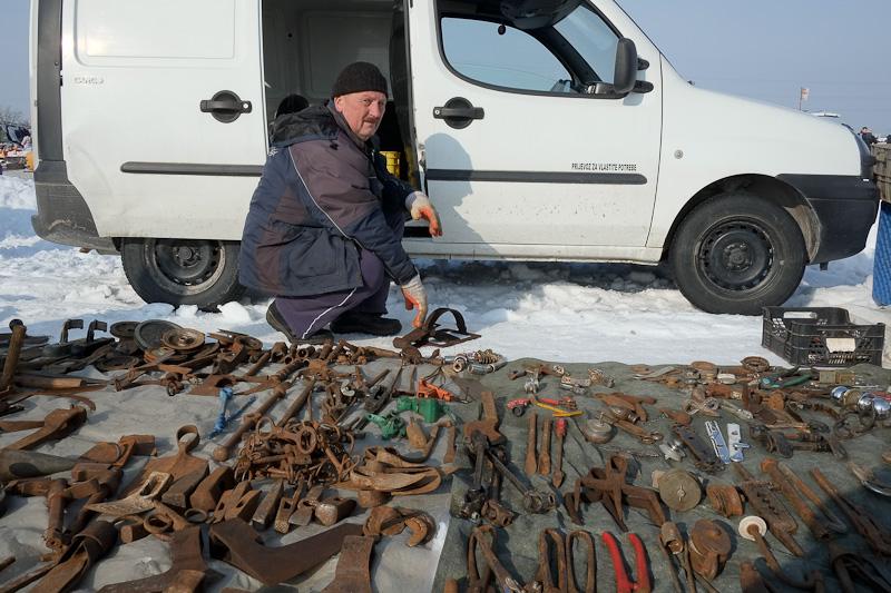 Flea market vendor in snow at Hrelic, Zagreb