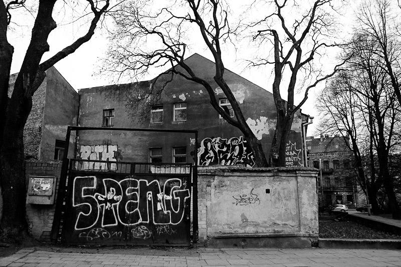 Graffiti on buildings in Uzupis.