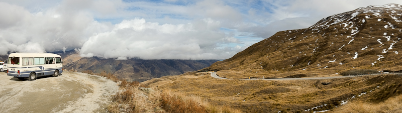 Panotrama of the highest road in New Zealand