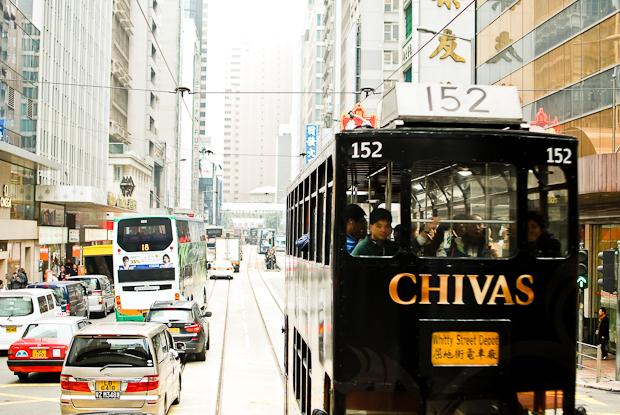 Chivas Advertising on a passing Hong Kong tram