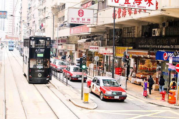 A photo of a Hong Kong tram, taken in 2012