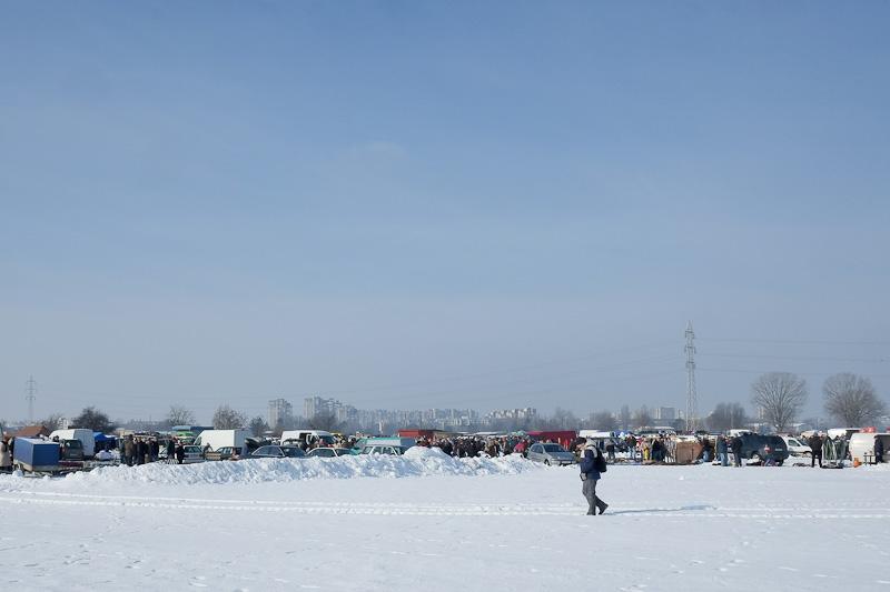 Hrelic Flea Market in the snow - Zagreb