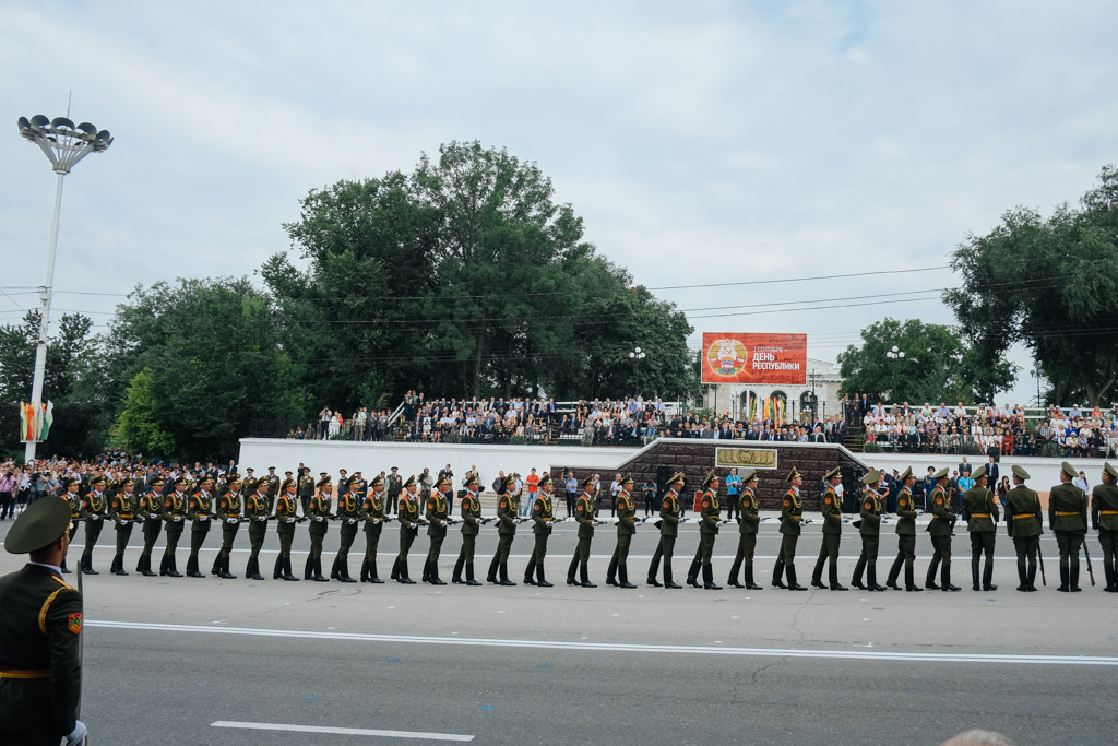 Tiraspol. Where soldiers walk in front of important people.