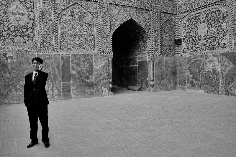 iran street photography - lone tourist