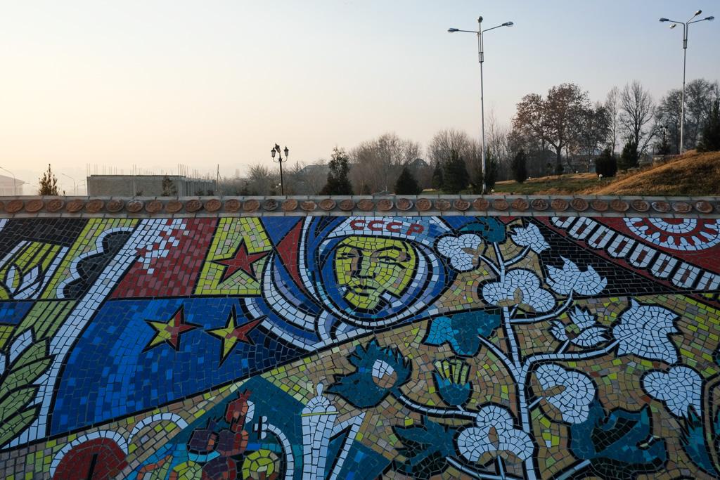 Mosaic Soviet cosmonaut, Khujand.