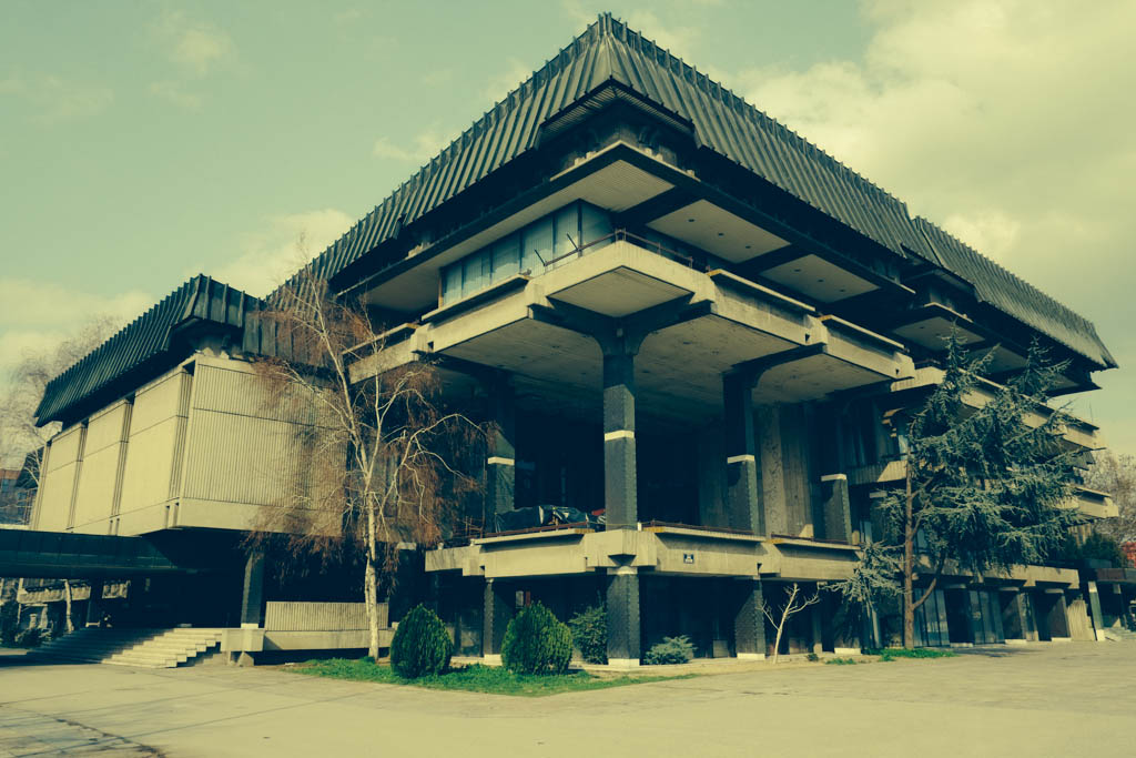 moderist communist architecture - Macedonian Academy of Sciences and Arts. Architect - Boris Čipan, 1976