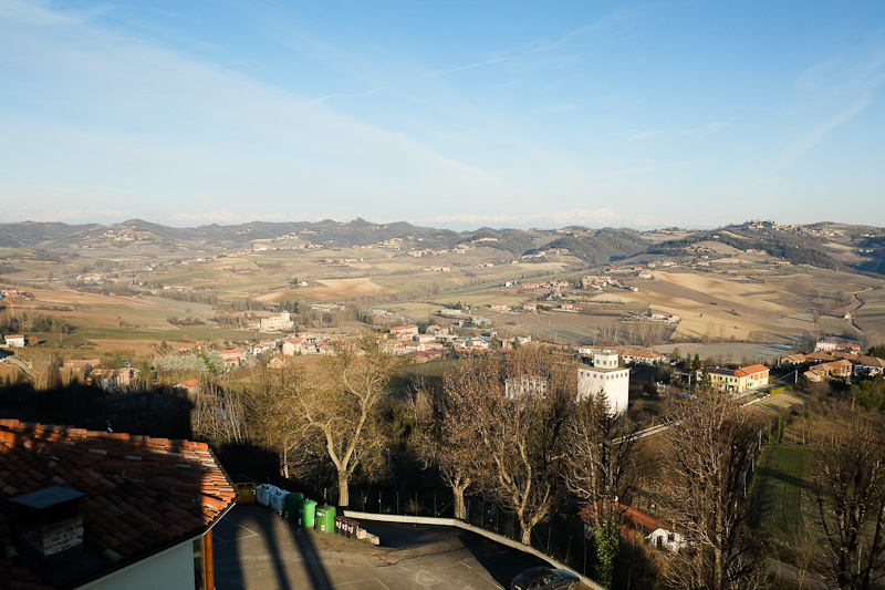 The view from atop Moncalvo castle.