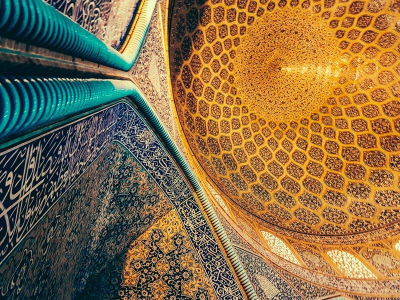 mosque ceiling esfahan iran