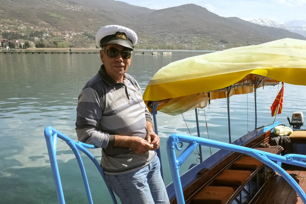boat Taxi driver, Ohrid Macedonia.