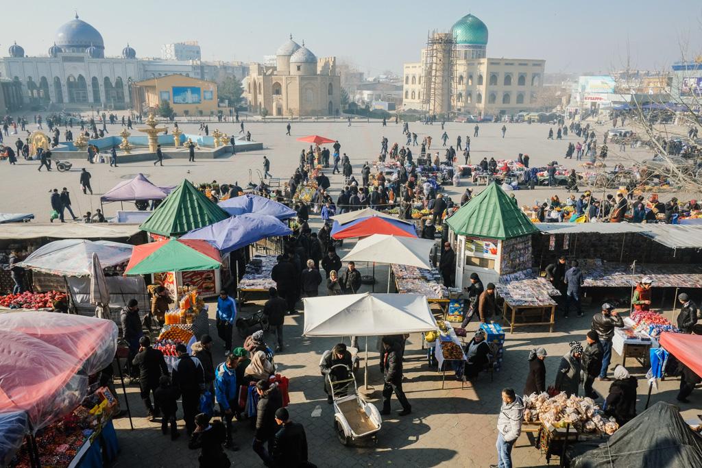 Panshanbe Square, Khujand, Tajikistan.