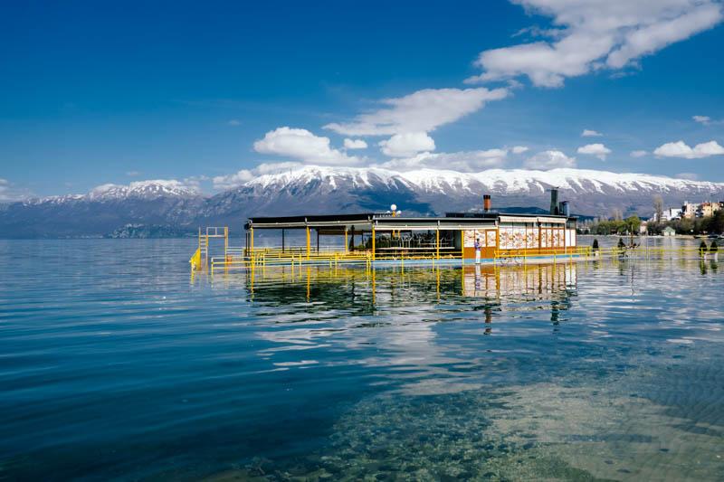 sinking restaurant, Pogradec Albania